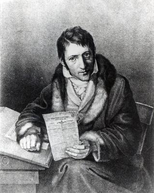 Charles-Joseph Panckouke holding a copy of 'Le Moniteur Universel'