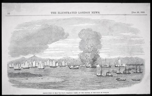 Destruction of Shap-ng-Tsai's piratical fleet by the British during the Opium Wars, from 'The Illustrated London News', 26th January, 1850