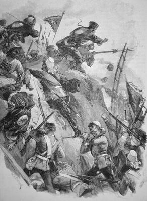 British troops storming the Taku Forts in China in 1860 during the Opium Wars