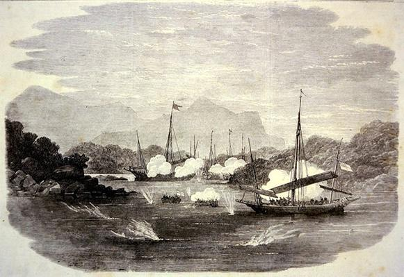 British ginboat 'Flamer' destroys Chinese piratical junks in Cho-Kee Bay during the Opium Wars