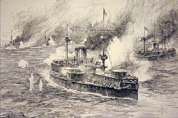 Battle of the Yalu River on 17th September, 1894 during the Sino-Japanese War, with the Chinese flagship Ting Yuen in the foreground