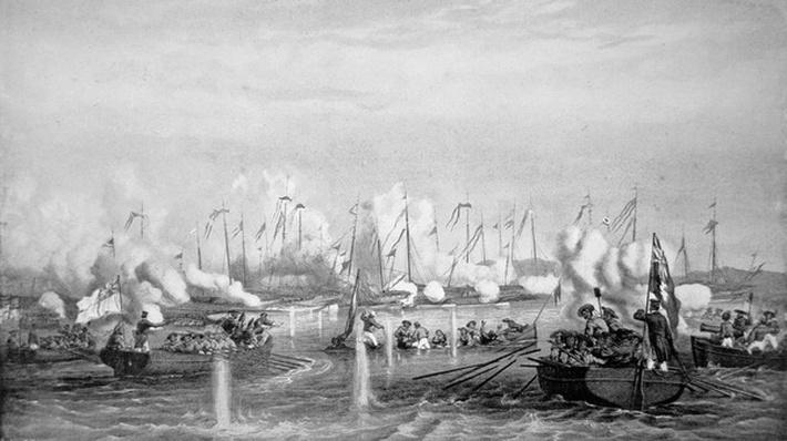 Battle of Fatshan Creek, China on 1st June, 1857 in which a Royal Navy force defeated a flotilla of Chinese war junks