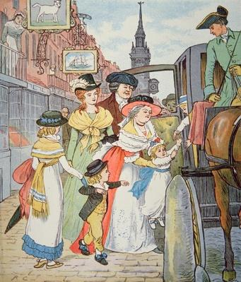 Family life in colonial America - Street scene in Boston