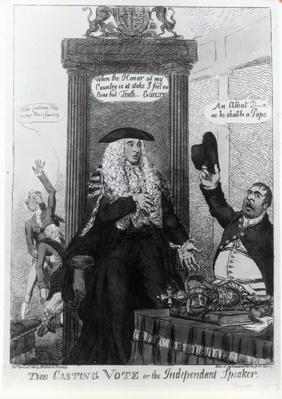 The Casting Vote, or the Independant Speaker, satirical cartoon showing then Prime Minister, Henry Addington, 1805