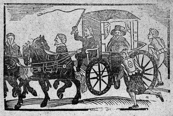 A nobleman in his carriage, an illustration from 'A Book of Roxburghe Ballads'