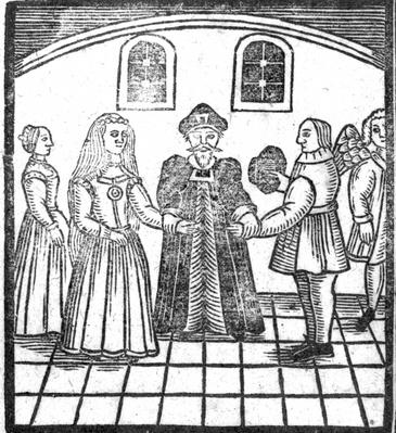 A Marriage Ceremony, an illustration from 'A Book of Roxburghe Ballads'