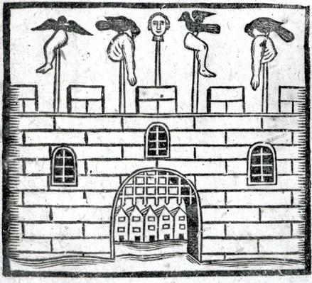 Body on spikes on the castle battlements, an illustration from 'A Book of Roxburghe Ballads'