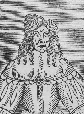 A Tudor Lady with bared breasts, an illustration from 'A Book of Roxburghe Ballads'