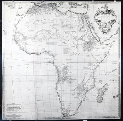 Map of Africa, engraved by Guillaume Delahaye, 1749