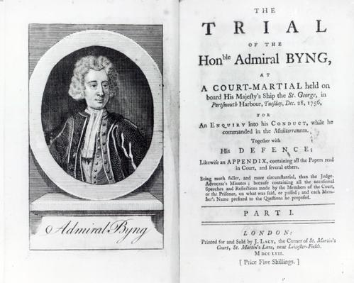 Frontispiece to 'The Trial of the Hon. Admiral Byng', published in 1757