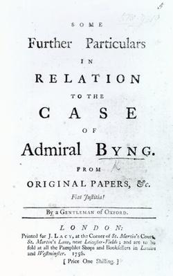 Title page from 'Some Further Particulars in Relation to the Case of Admiral Byng', published in 1756