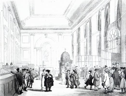Bank of England, Great Hall, from Ackermann's 'Microcosm of London', 1809