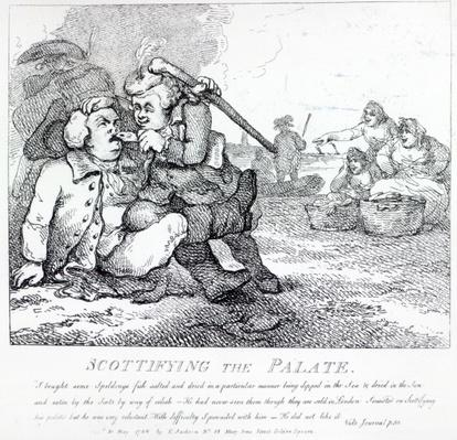Scottifying the Palate from 'Picturesque Beauties of Boswell, Part the First', etched by Thomas Rowlandson, 1786