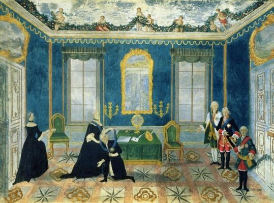 Catherine II recalling Chancellor Alexey Bestuzhev-Ryumin to Court