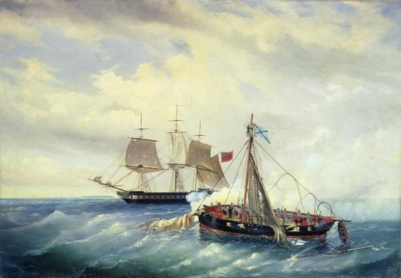 Battle between the Russian ship Opyt and a British frigate, off the coast of Nargen Island, 11th June 1808, 1889
