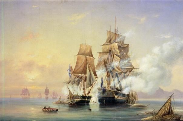 The Russian Cutter Mercury captures the Swedish frigate Venus on 21st May 1789, 1845