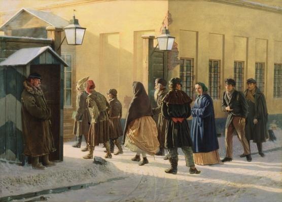 A street scene, outside a prison, 1868