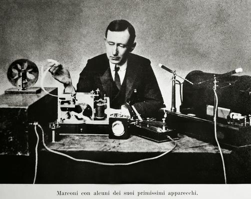 Guglielmo Giovanni Maria Marconi (Bologna, 1874-Rome, 1937), Italian physicist and inventor, with one of his first telegraphs
