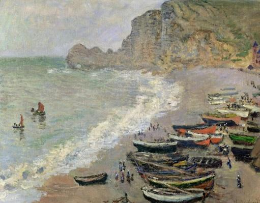 Etretat, beach and the Porte d'Amont, 1883