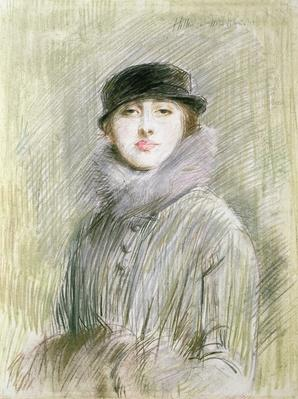 Portrait of a Lady with a Fur Collar and Muff, 20th century