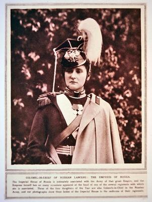 The Empress of Russia in the uniform of the Colonel-in-Chief of the Russian Lancers, 1914