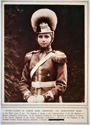 Grand Duchess Maria in the uniform of the Colonel-in-Chief of the Russian Horse Grenadiers, 1914