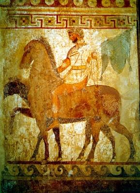 Soldier on a horse, funerary painting