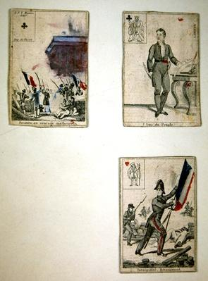 Three playing cards commemorating the heroes of July 1830, 1831