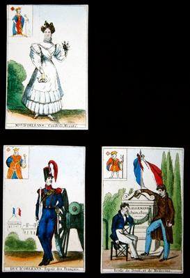 Four playing cards commemorating the heroes of July 1830, 1831