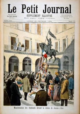 Students gather at the statue of Joan of Arc, from the front page of the illustrated supplement of 'Le Petit Journal', 19th February 1894