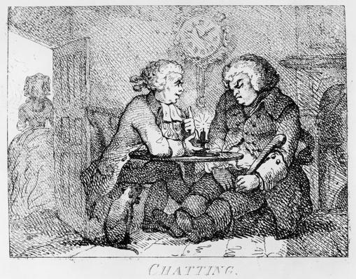 Chatting, illustration from 'Picturesque Beauties of Boswell, Part the First', etched by Thomas Rowlandson, 1786