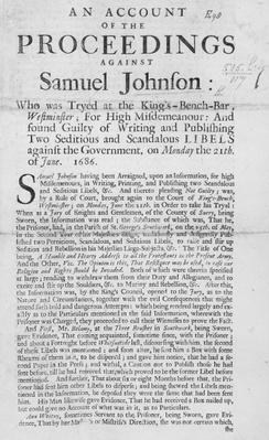 An Account of the Proceedings against Samuel Johnson, 1686
