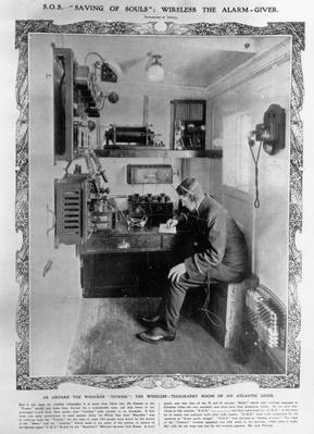 """As Aboard the Wrecked """"Titanic"""": The Wireless-Telegraphy Room of an Atlantic Liner, illustration from 'The Illustrated London News', April 20th, 1912"""