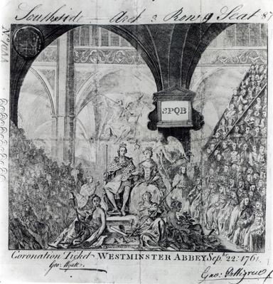 Ticket for the Coronation of George III at Westminster Abbey, September 22nd 1761