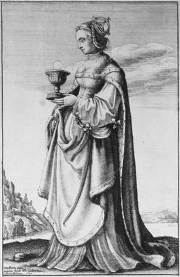 St. Barbara, etched by Wenceslaus Hollar, 1647