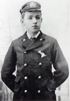 Ernest Shackleton, aged 16, wearing his White Star Line uniform, 1890