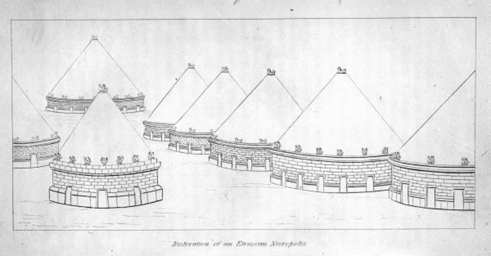 Reconstruction of Etruscan tombs at Tarquinia