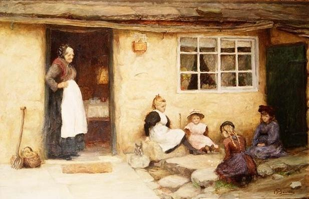 Children playing Dice by a Cottage