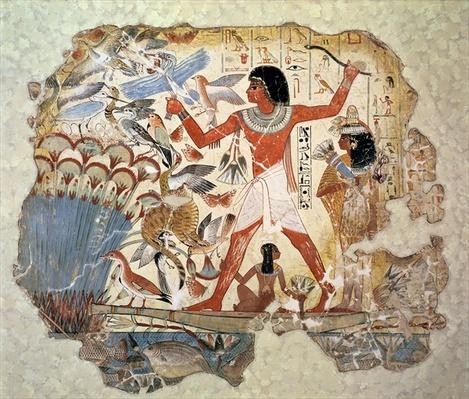 Nebamun hunting in the marshes with his wife and daughter