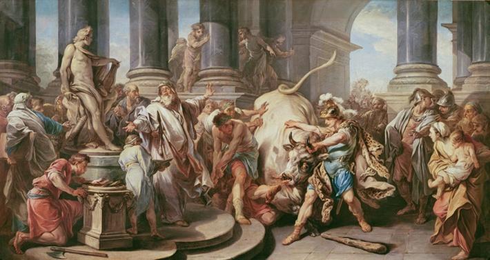 Theseus conquering the bull at Marathon, 1732-34