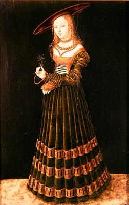 Young girl holding flowers, 1526