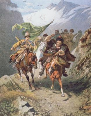 Cossacks of the Caucasus return from a raid on a settlement of Muslim cossacks with a captured crescent banner
