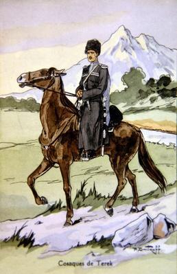 Postcard depicting a Terek Cossack, c.1914