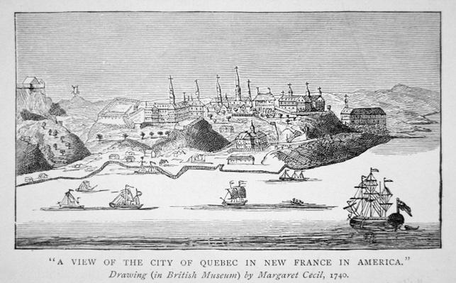 A view of the city of Quebec in New France in America, 1740