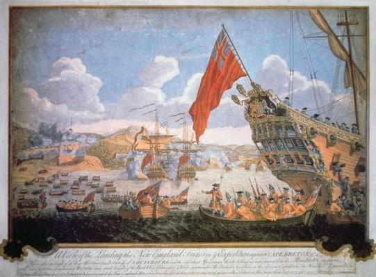 Siege of the French fortress of Louisbourg in 1745 by British vessels and New England colonials