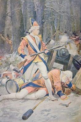 A British drummer boy stands firm during a French-led Indian ambush
