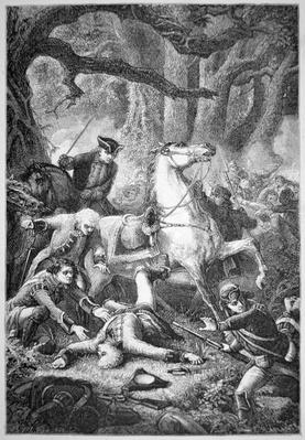The death of British Commander General Braddock near Fort Duquesne