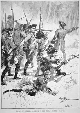 The defeat and death of General Edward Braddock in the Indian Ambush