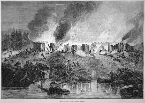 New England white settlers attack the Pequot Indian fort during the Pequot War of 1637