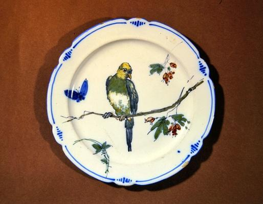 Plate decorated with bird, butterfly and blossom, Bourg-la-Reine manufacture